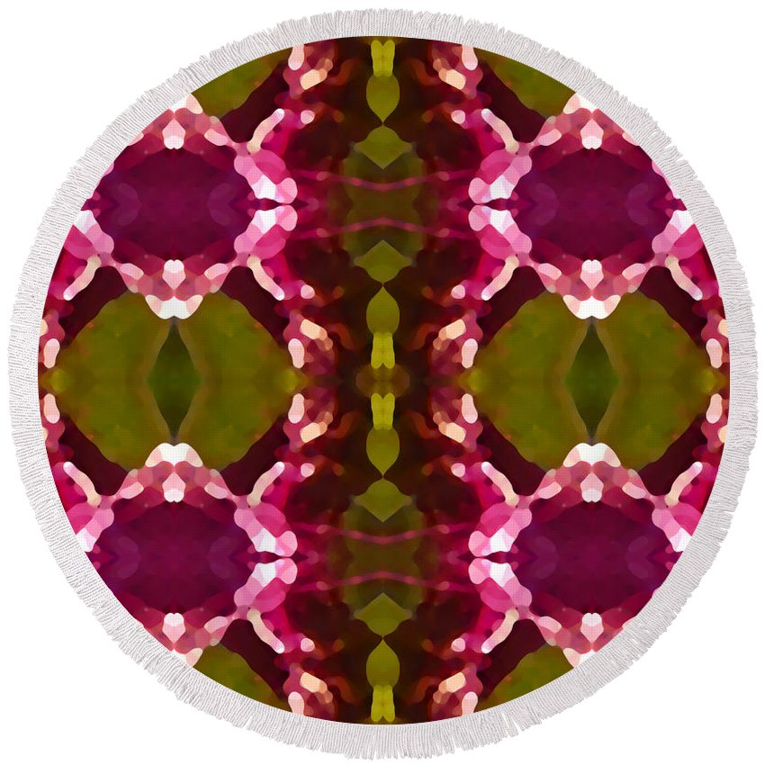 Abstract Painting Round Beach Towel featuring the digital art Magenta Crystals Pattern 2 by Amy Vangsgard