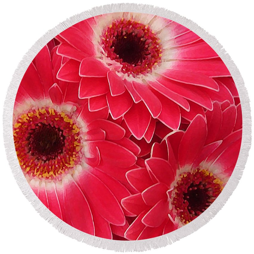 Daisy Round Beach Towel featuring the painting Magenta Gerber Daisies by Amy Vangsgard