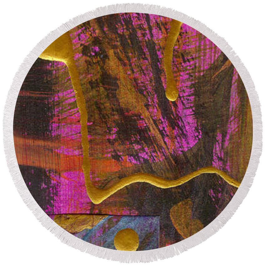 Gretting Cards Round Beach Towel featuring the mixed media Magenta Joy by Angela L Walker