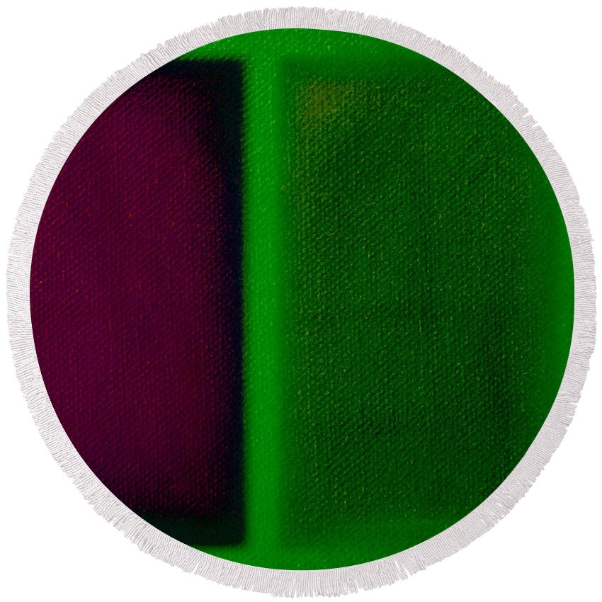 Rothko Round Beach Towel featuring the painting Magenta On Green by Charles Stuart