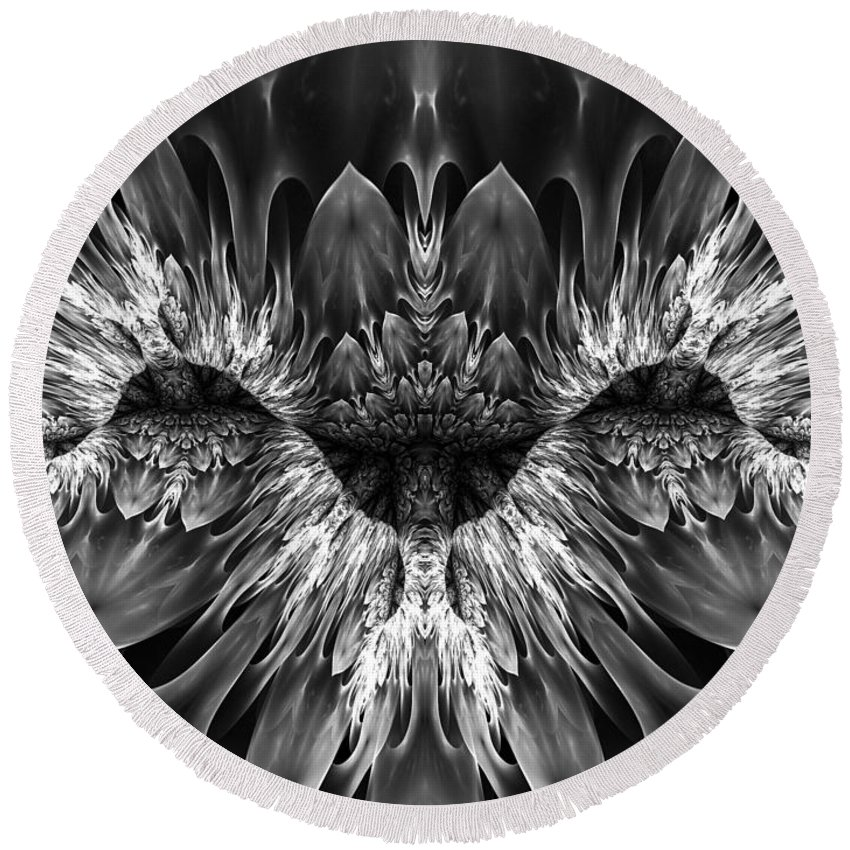Fractal Art Round Beach Towel featuring the digital art Magenta Until - Black And White 2 by Amorina Ashton