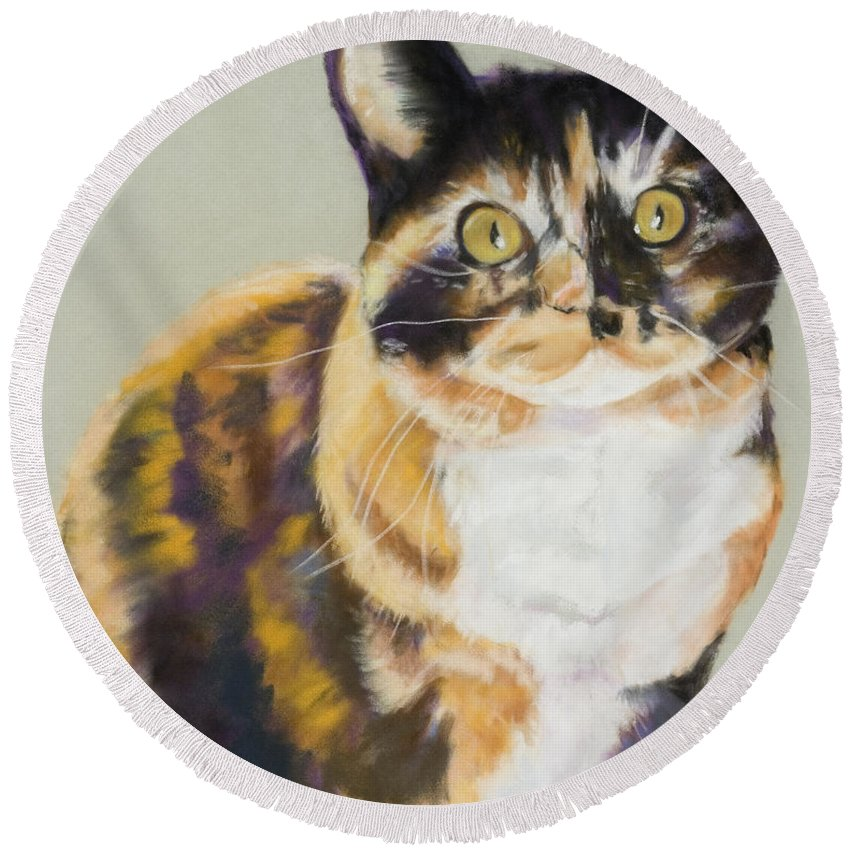 Calico Round Beach Towel featuring the painting Maggie Mae by Pat Saunders-White