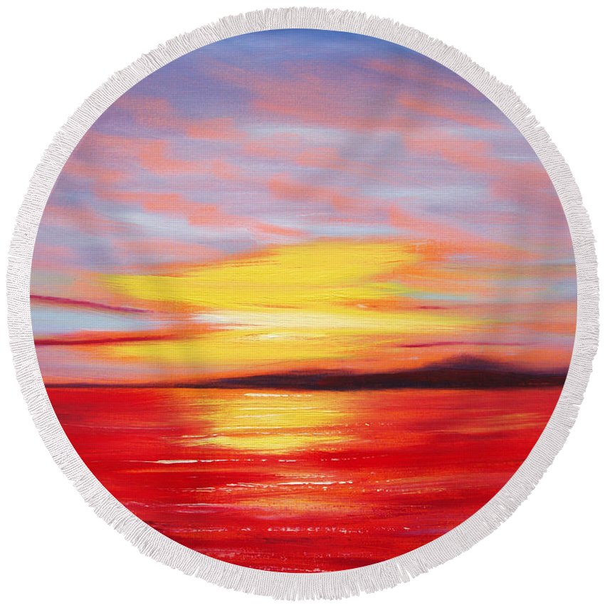 Sunset Original Painting Gold Yellow Red And Orange Colors Art By Gina De Gorna Seascape Abstract Round Beach Towel featuring the painting Magic At Sunset by Gina De Gorna