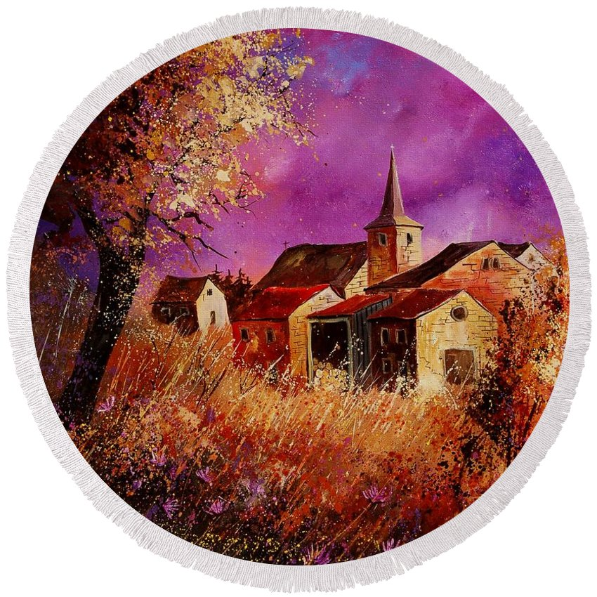 Landscape Round Beach Towel featuring the painting Magic Autumn by Pol Ledent