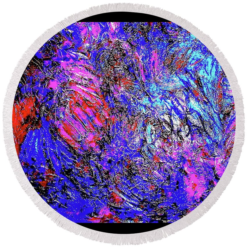 Painting Acrylics Prints Round Beach Towel featuring the painting Magic Blue by Monique's Fine Art