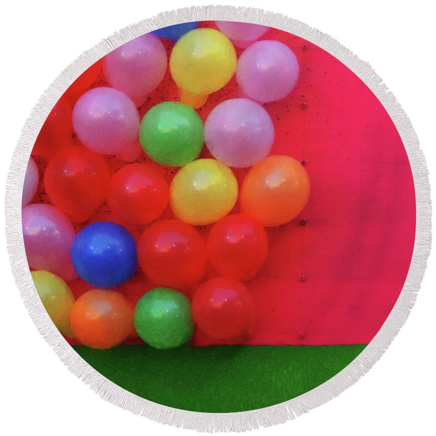Magic Bubbles Round Beach Towel featuring the photograph Magic Bubbles by Skip Hunt