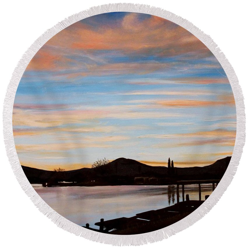 Landscape Round Beach Towel featuring the painting Magic by Elizabeth Robinette Tyndall
