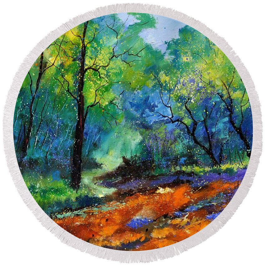 Landscape Round Beach Towel featuring the painting Magic Forest 79 by Pol Ledent