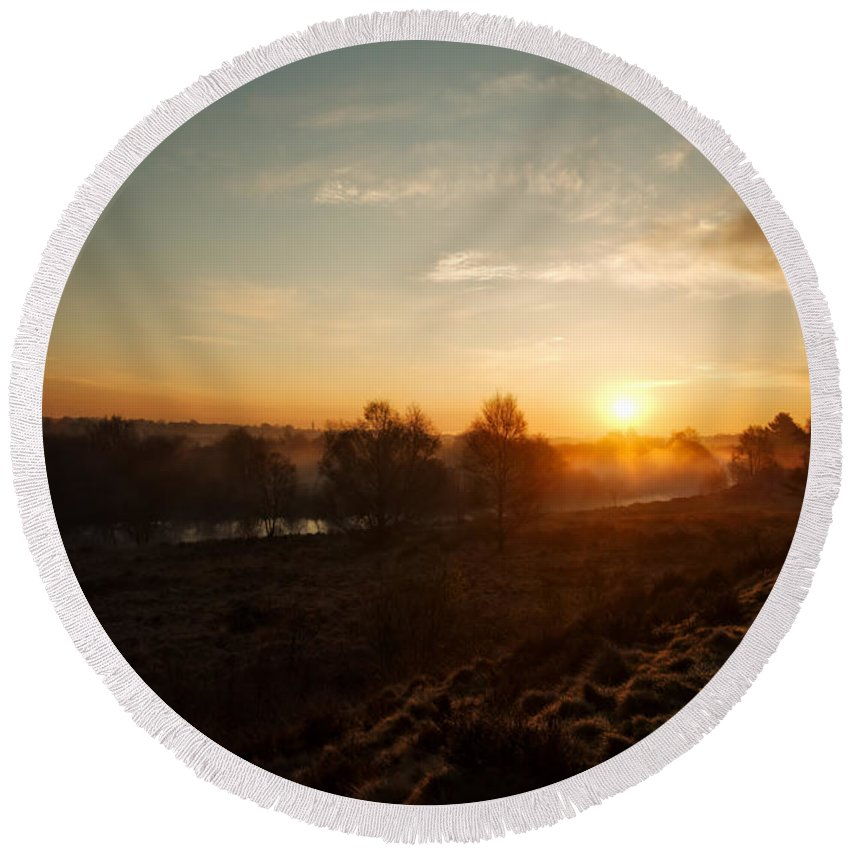 Brownhills Round Beach Towel featuring the photograph Magic Hour At Chasewater by Rawshutterbug