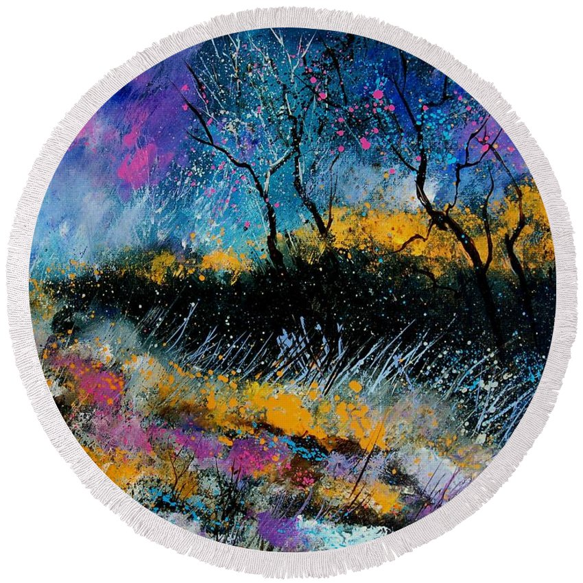 Landscape Round Beach Towel featuring the painting Magic Morning Light by Pol Ledent