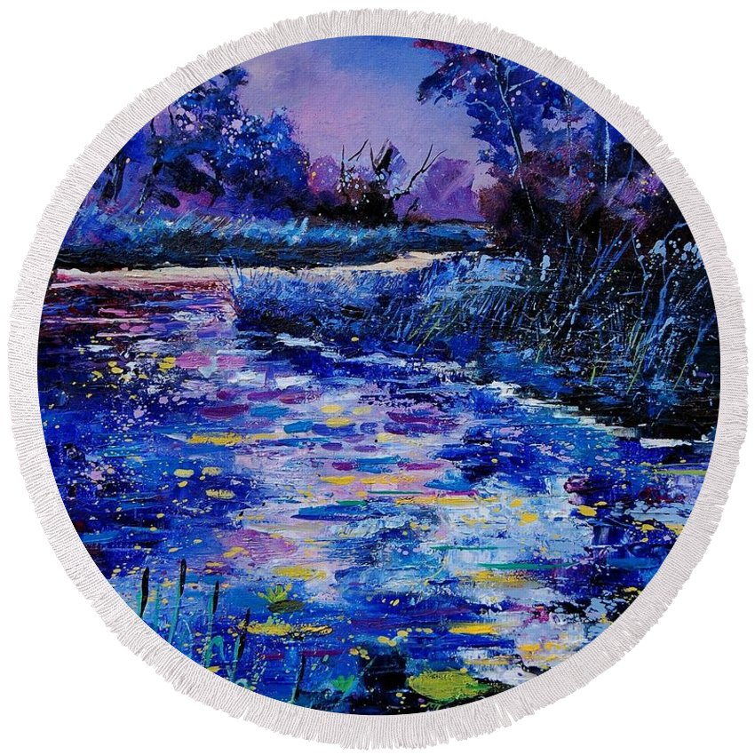 River Round Beach Towel featuring the painting Magic Pond by Pol Ledent