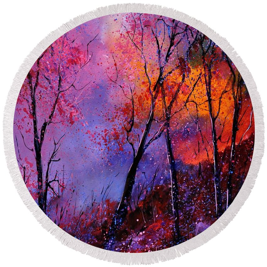 Landscape Round Beach Towel featuring the painting Magic Trees by Pol Ledent