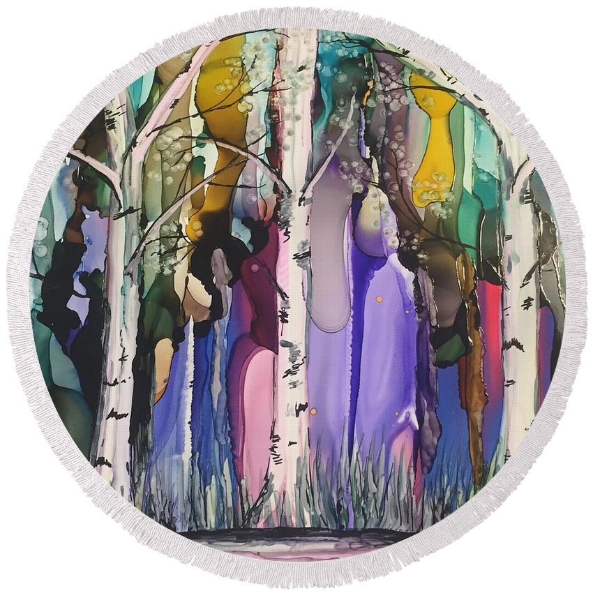 Landscapes Round Beach Towel featuring the painting Magical Birch by Michelle McCullough