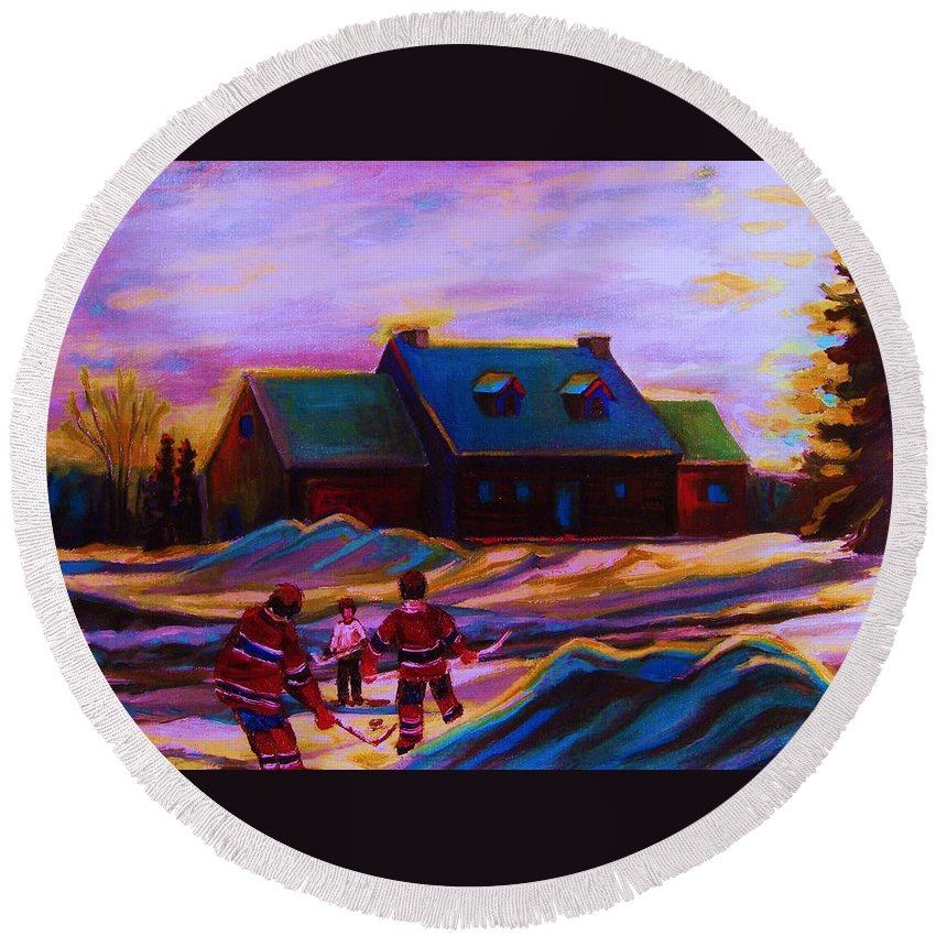 Hockey Round Beach Towel featuring the painting Magical Day For Hockey by Carole Spandau