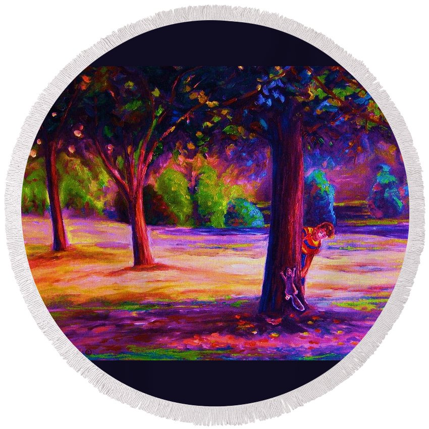 Landscape Round Beach Towel featuring the painting Magical Day In The Park by Carole Spandau