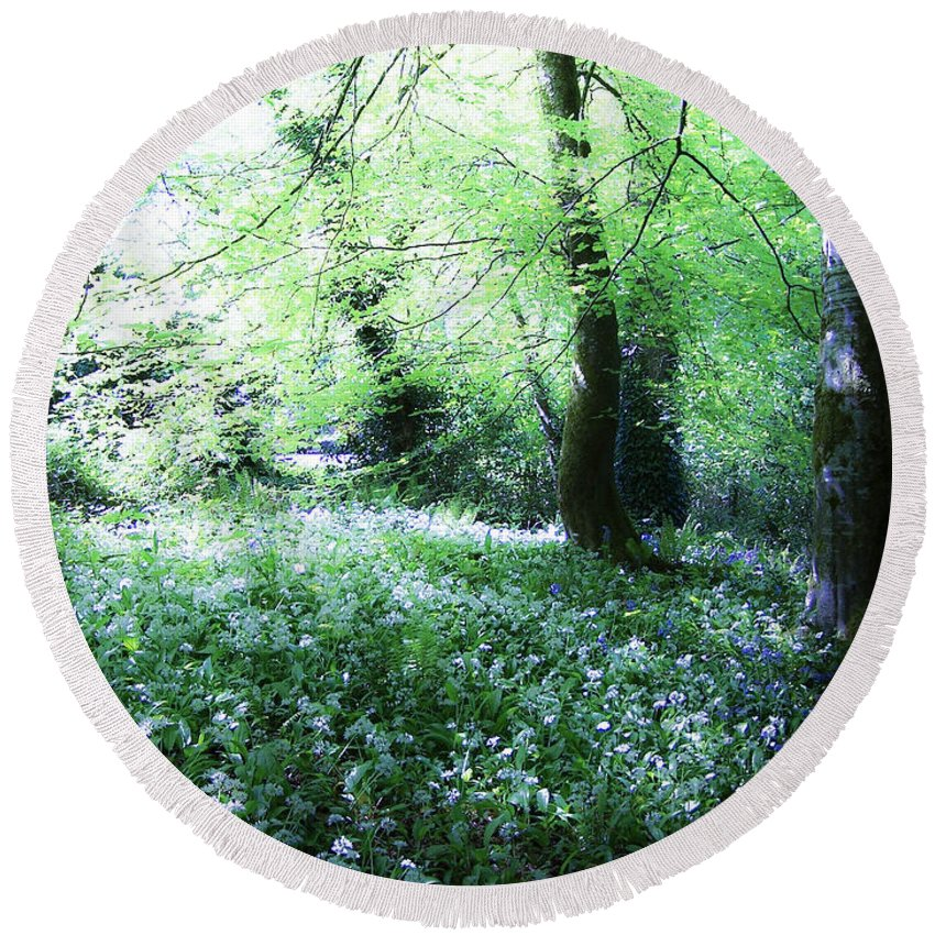 Irish Round Beach Towel featuring the photograph Magical Forest At Blarney Castle Ireland by Teresa Mucha