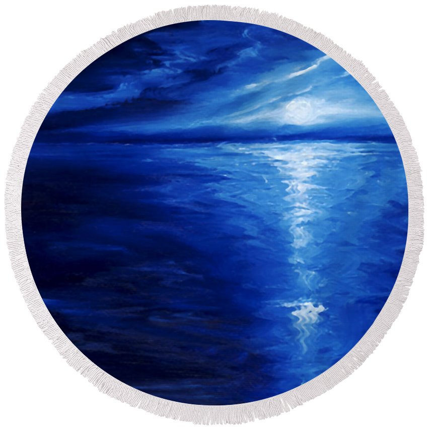 Blue Moon Round Beach Towel featuring the painting Magical Moonlight by James Christopher Hill