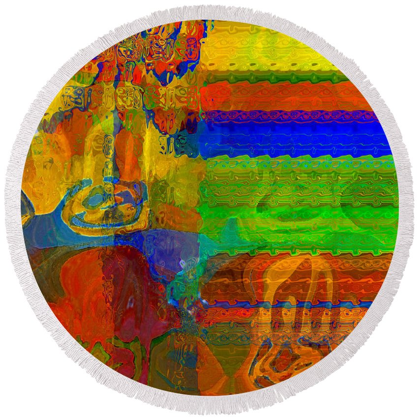 Yellow Round Beach Towel featuring the digital art Magical Multi by Ruth Palmer