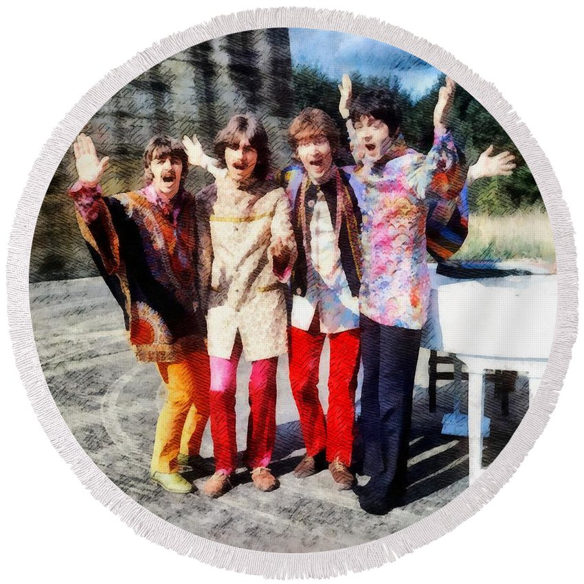 Hollywood Round Beach Towel featuring the painting Magical Mystery Tour, The Beatles by Esoterica Art Agency