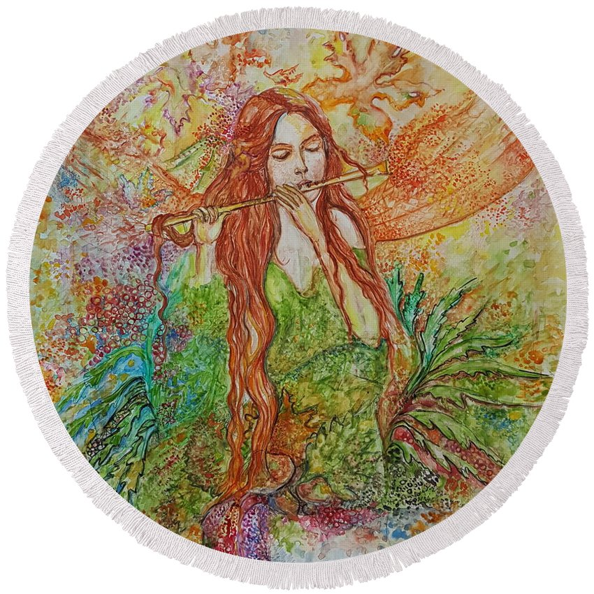 Song Round Beach Towel featuring the painting Magical Song Of Autumn by Rita Fetisov