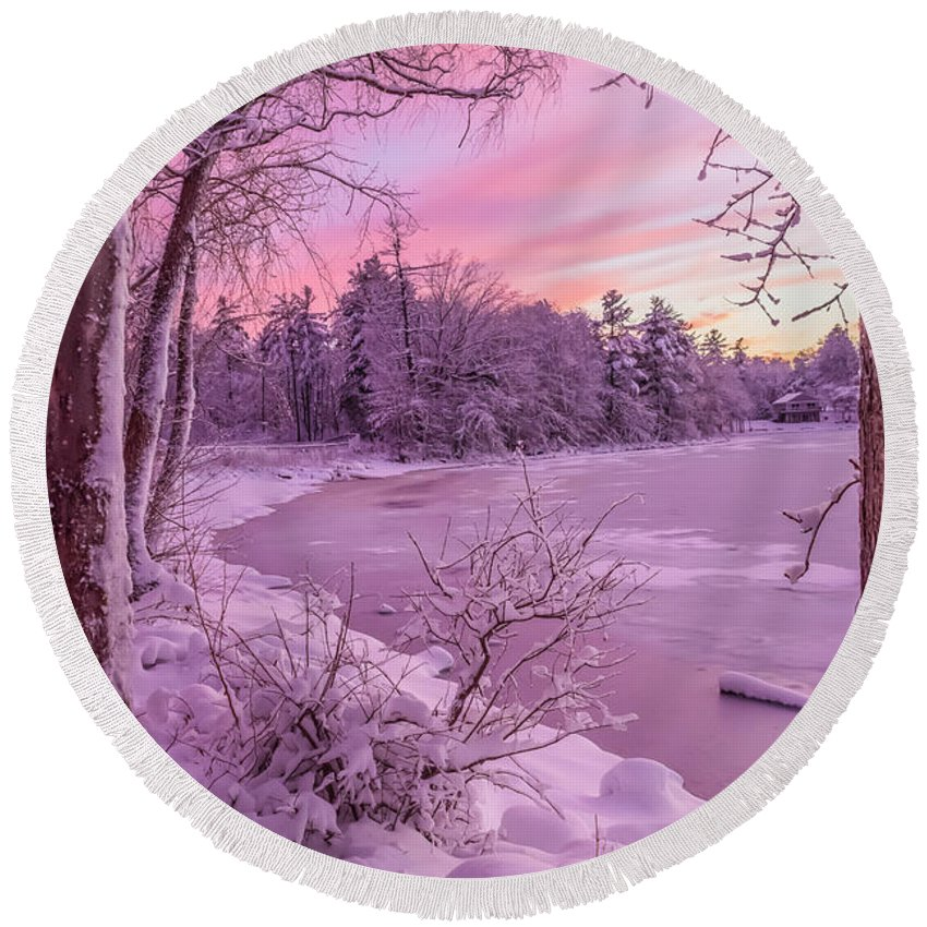 Winter Round Beach Towel featuring the photograph Magical Sunset After Snow Storm 1 by Claudia M Photography