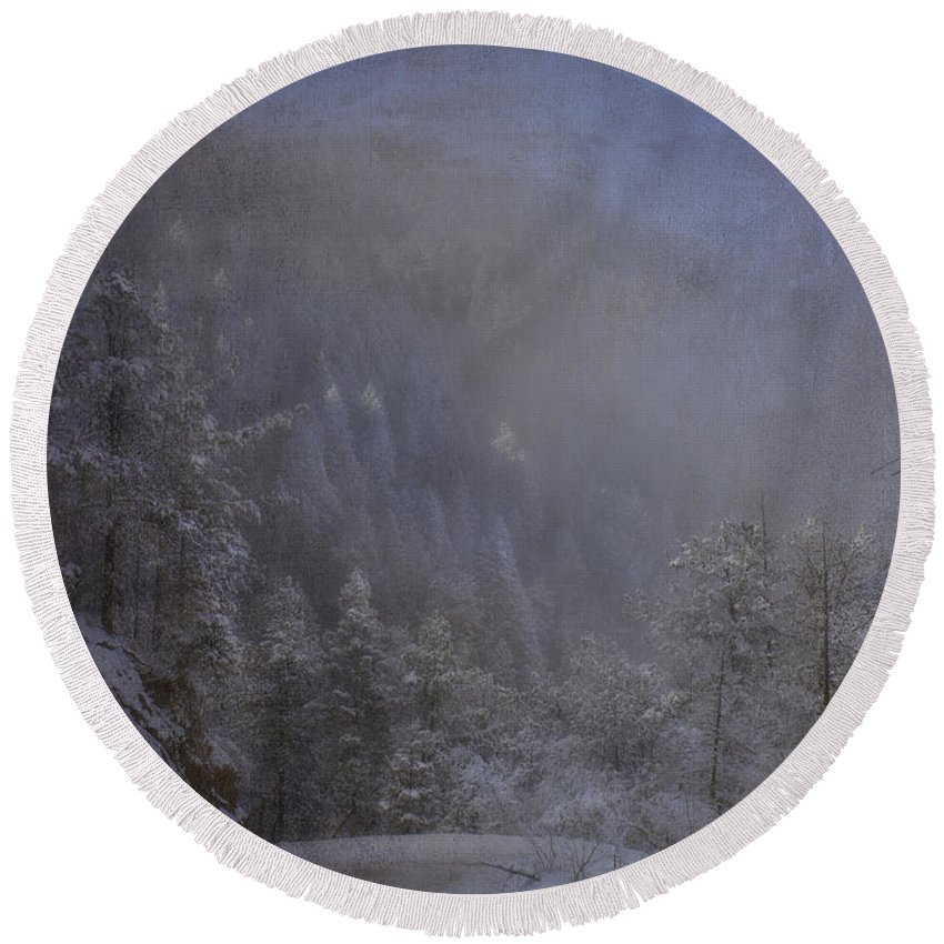 Beautiful Round Beach Towel featuring the photograph Magical Winter Day by Ellen Heaverlo