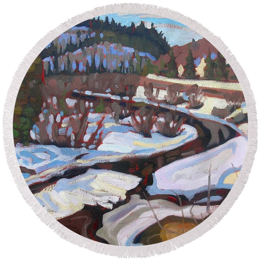 South Round Beach Towel featuring the painting Magnetawan Morning by Phil Chadwick