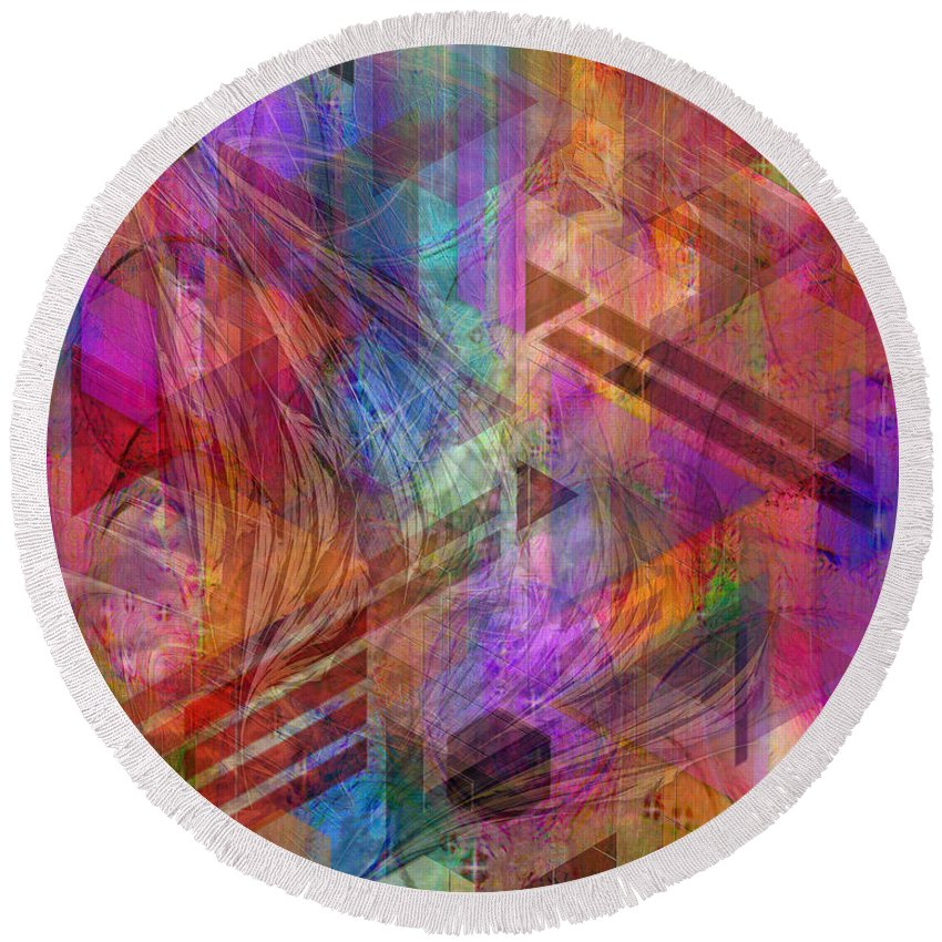 Magnetic Abstraction Round Beach Towel featuring the digital art Magnetic Abstraction by John Beck