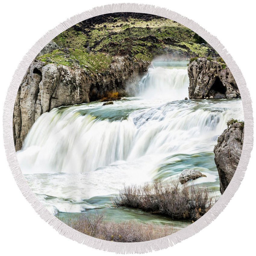 Magnificence Round Beach Towel featuring the photograph Magnificence Of Shoshone Falls by Daryl L Hunter