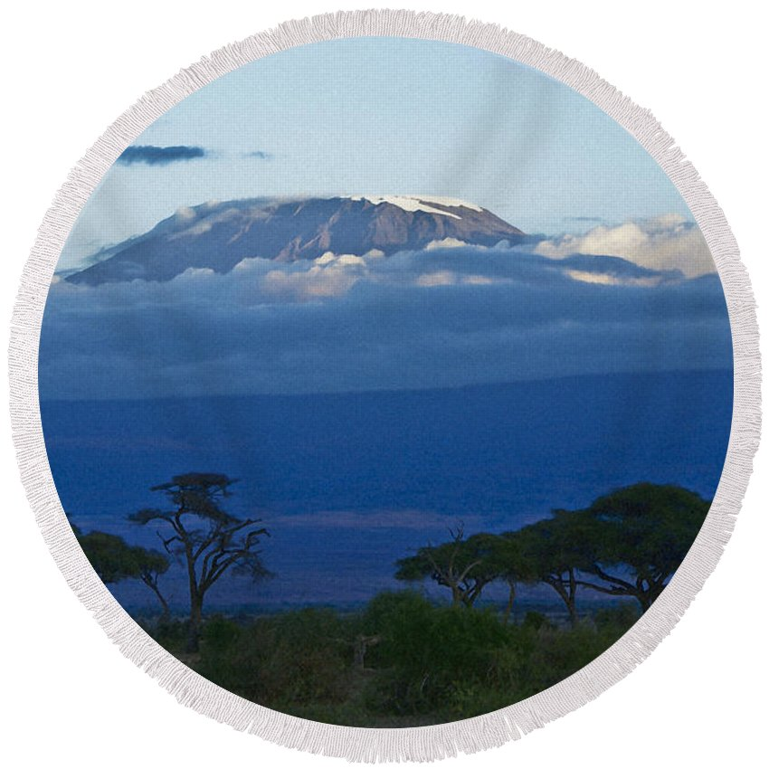 Africa Round Beach Towel featuring the photograph Magnificent Kilimanjaro by Michele Burgess