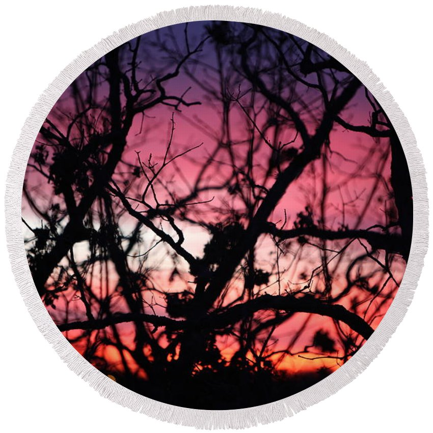 Sunset Round Beach Towel featuring the photograph Magnificent Sunset And Trees by Nadine Rippelmeyer