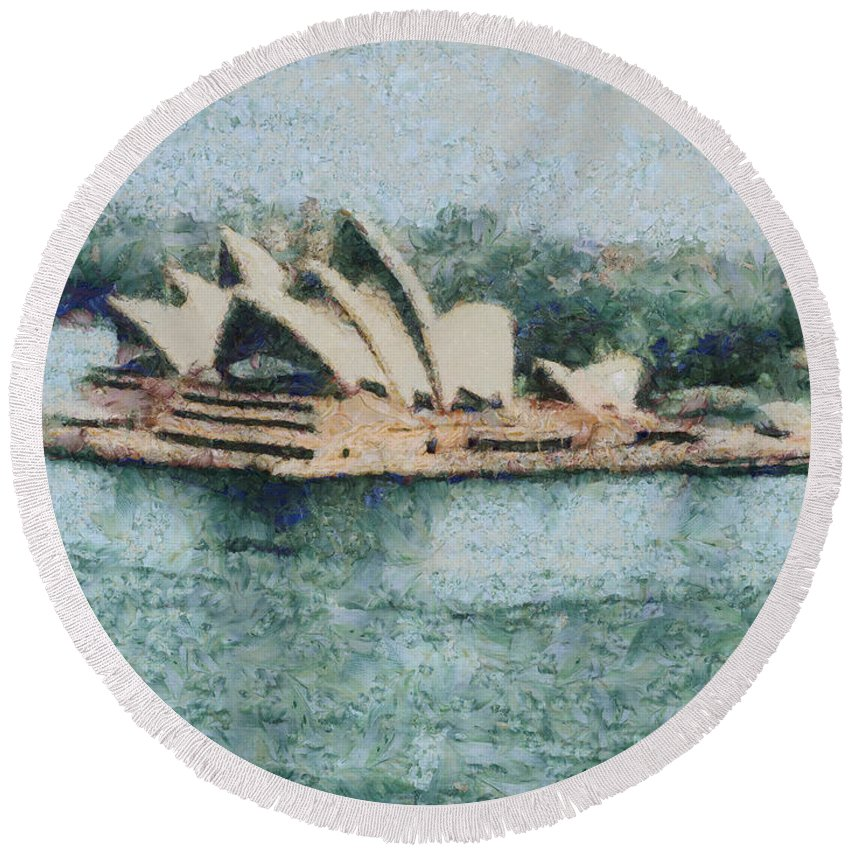 Sydney Round Beach Towel featuring the photograph Magnificent Sydney Opera House by Ashish Agarwal