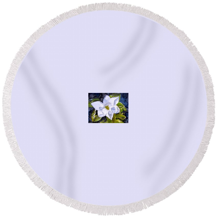 Magnolia Round Beach Towel featuring the painting Magnolia 2 Flower Art by Derek Mccrea