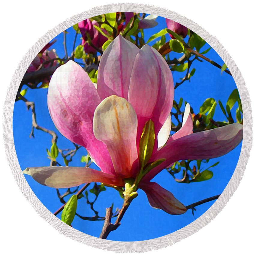 Magnolia Round Beach Towel featuring the painting Magnolia Flower by Amy Vangsgard