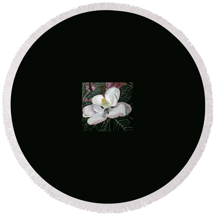 Acrylic Round Beach Towel featuring the painting Magnolia Flower Painting by Derek Mccrea