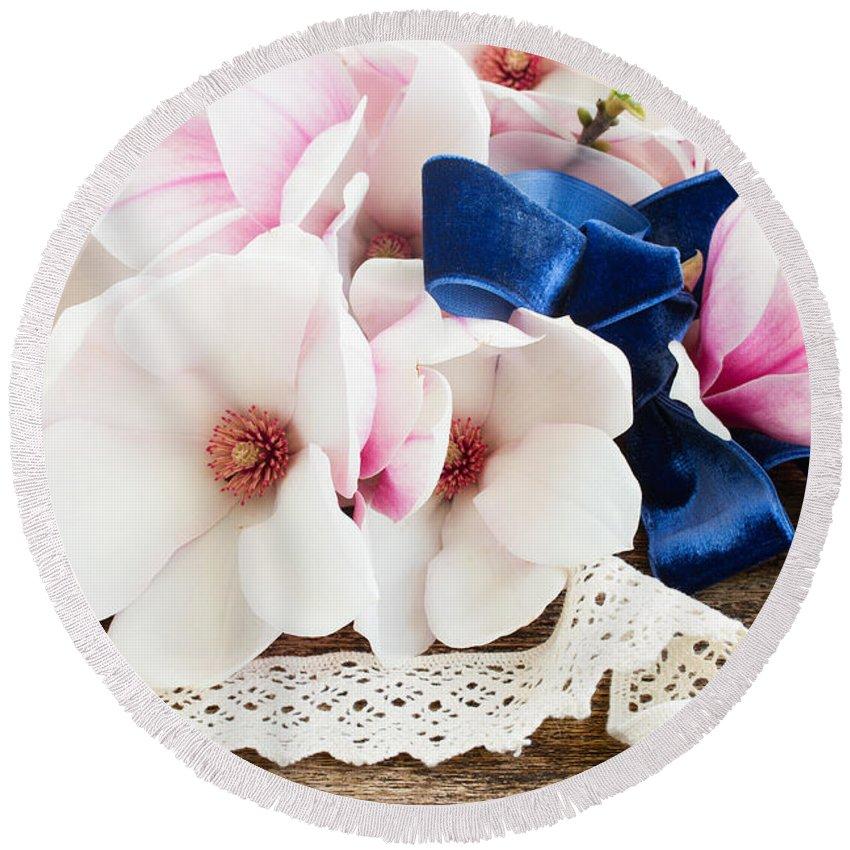 Wedding Round Beach Towel featuring the photograph Magnolia Flowers by Anastasy Yarmolovich
