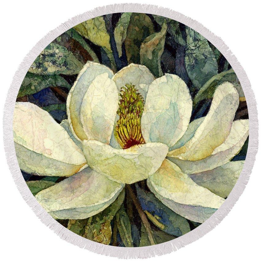 Magnolia Round Beach Towel featuring the painting Magnolia Grandiflora by Hailey E Herrera