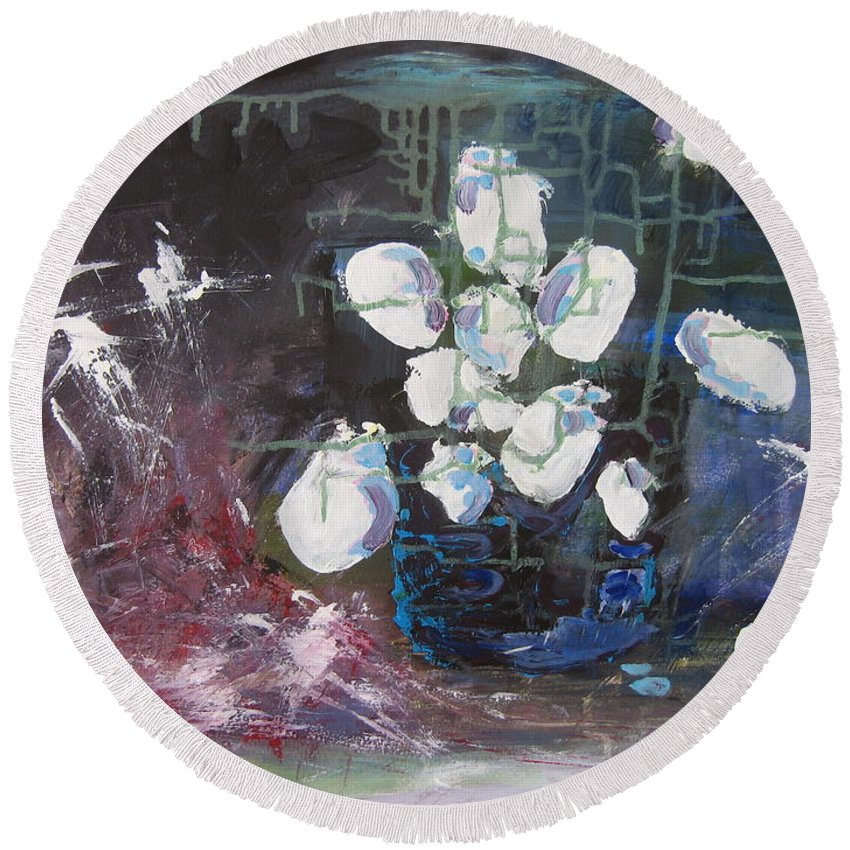 Abstract Paintings Round Beach Towel featuring the painting Magnolia by Seon-Jeong Kim