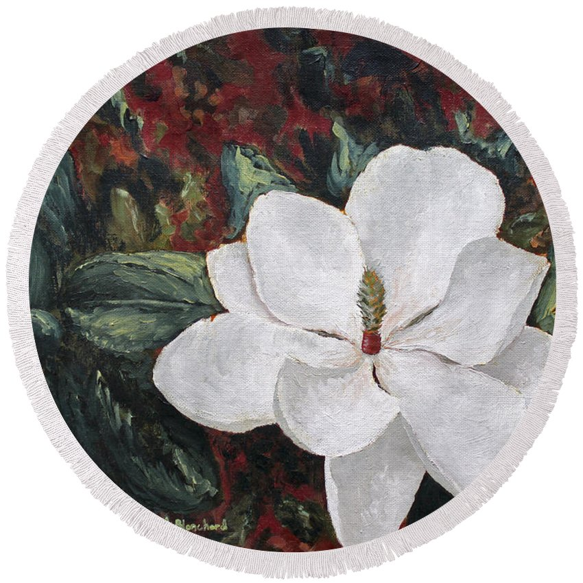 Flower Round Beach Towel featuring the painting Magnolia by Todd Blanchard