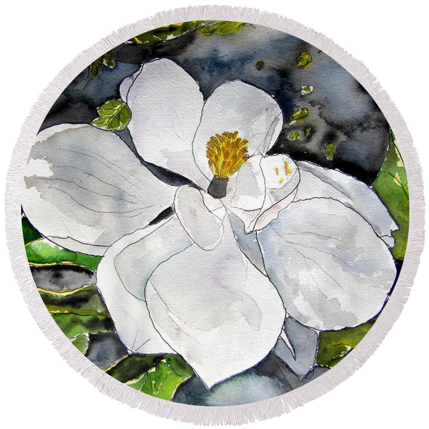 Magnolia Round Beach Towel featuring the painting Magnolia Tree Flower by Derek Mccrea