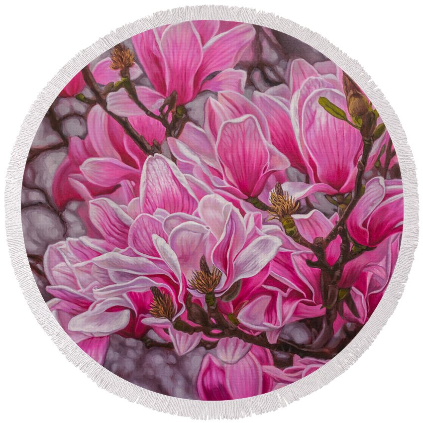 Fiona Craig Round Beach Towel featuring the painting Magnolias 1 by Fiona Craig