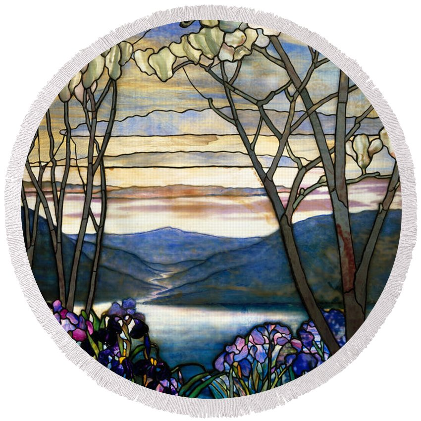 Magnolia Round Beach Towel featuring the glass art Magnolias And Irises by Louis Comfort Tiffany