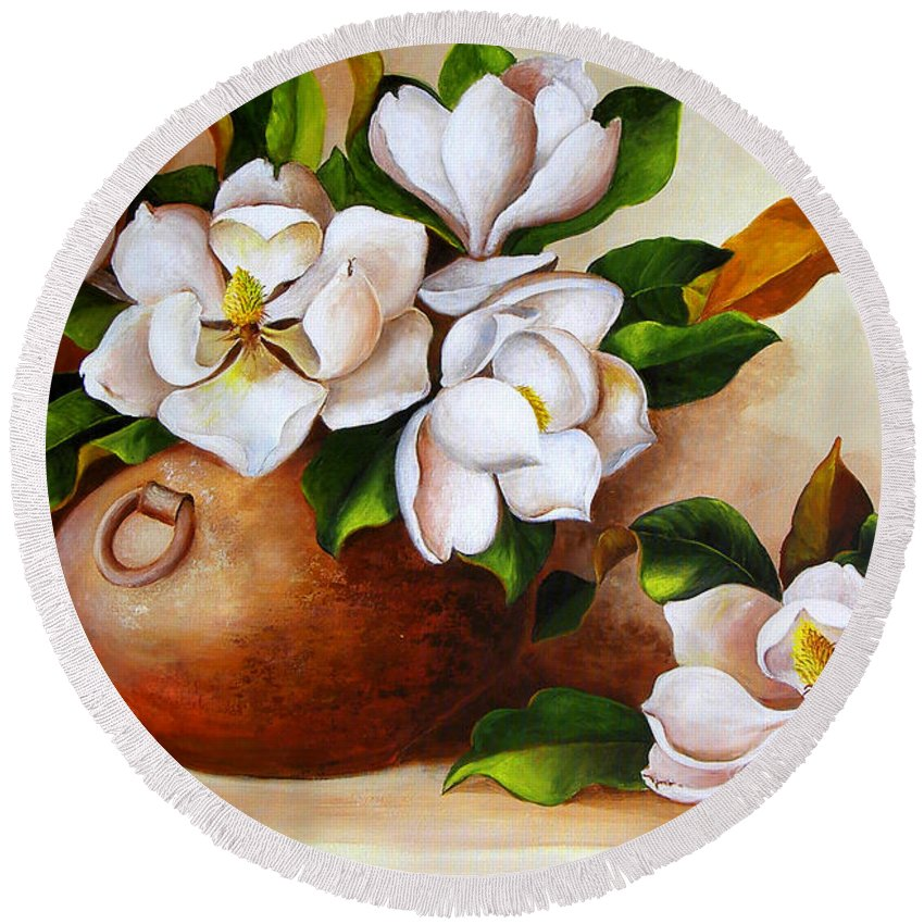 Clay Pot Round Beach Towel featuring the painting Magnolias In A Clay Pot by Dominica Alcantara