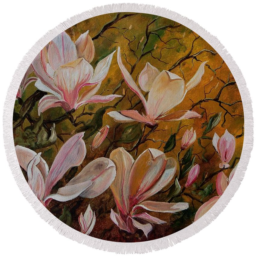 Flowers Round Beach Towel featuring the painting Magnolias by Pol Ledent