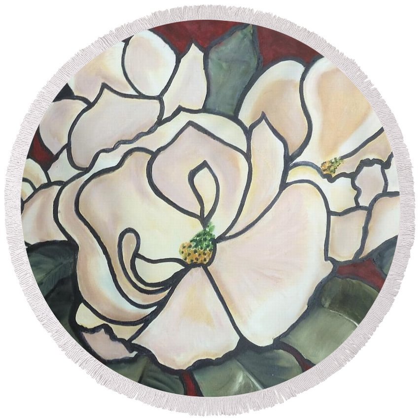 Flowers Round Beach Towel featuring the painting Magnolias Under Glass by Martha Mullins
