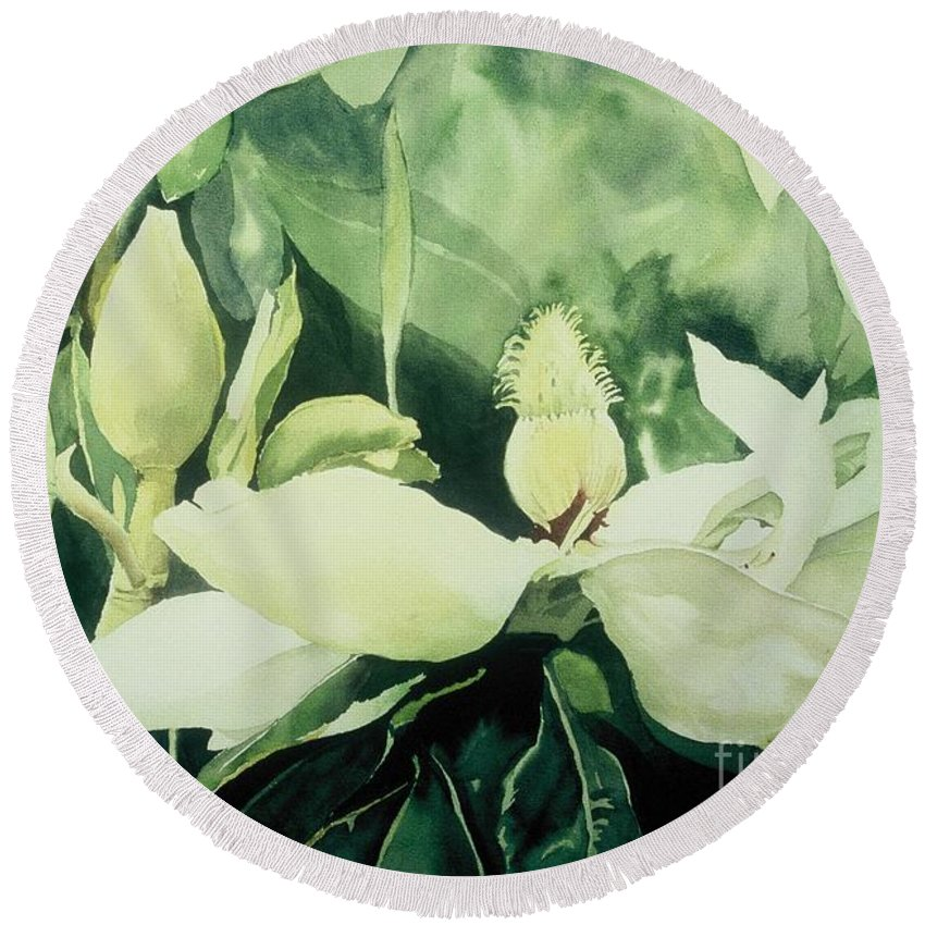 Magnolias Round Beach Towel featuring the painting Magnolium Opus by Elizabeth Carr