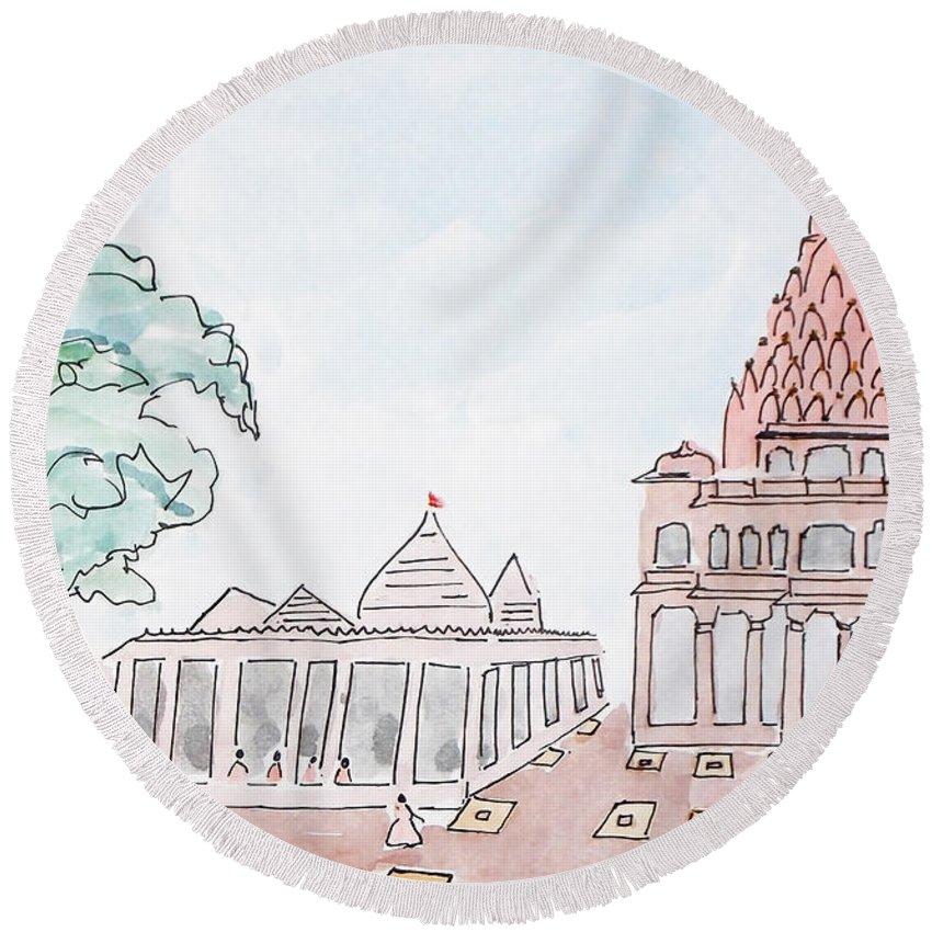 Mahakaleshwar Round Beach Towel featuring the painting Mahakaleshwar Jyotirlinga by Keshava Shukla