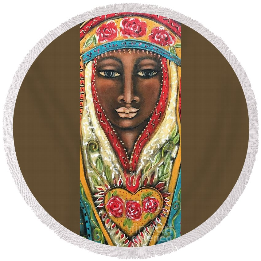 Queen Round Beach Towel featuring the painting Maia by Maya Telford