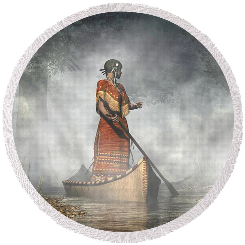 Maid Of The Mists Round Beach Towel featuring the digital art Maid Of The Mists by Daniel Eskridge
