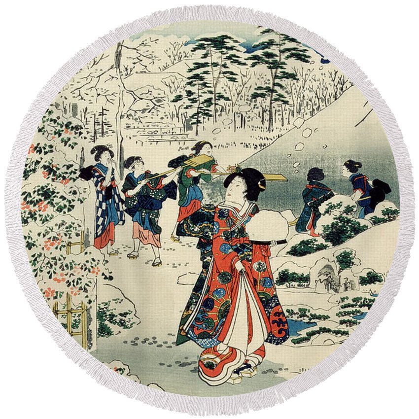 Maids In A Snow-covered Garden Round Beach Towel featuring the painting Maids In A Snow Covered Garden by Hiroshige